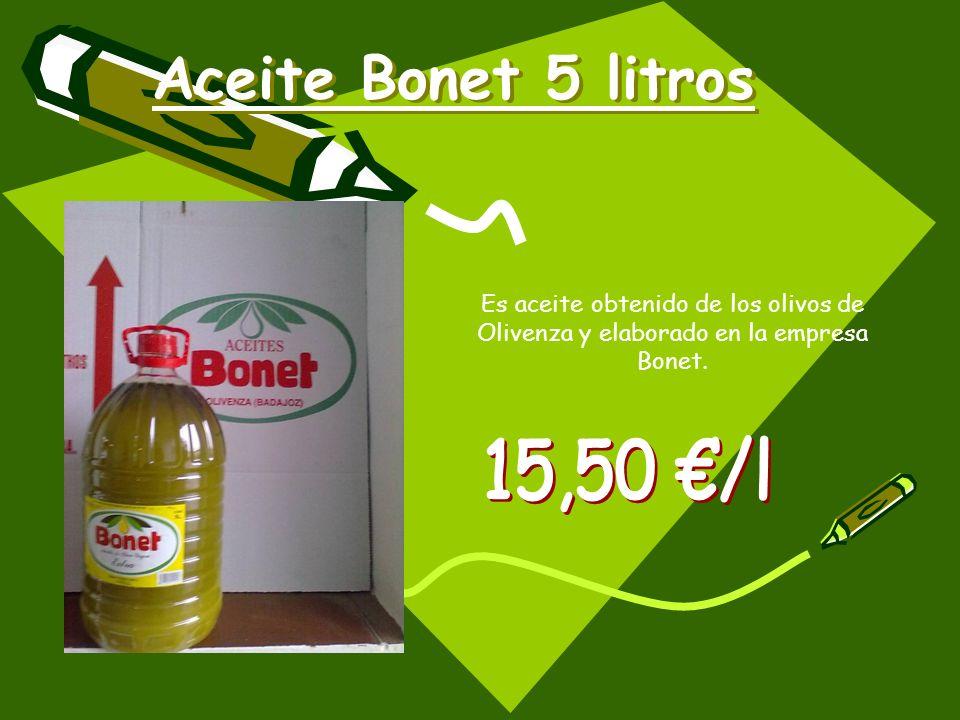 Aceite Bonet 5 litros Es aceite obtenido de los olivos de Olivenza y elaborado en la empresa Bonet.