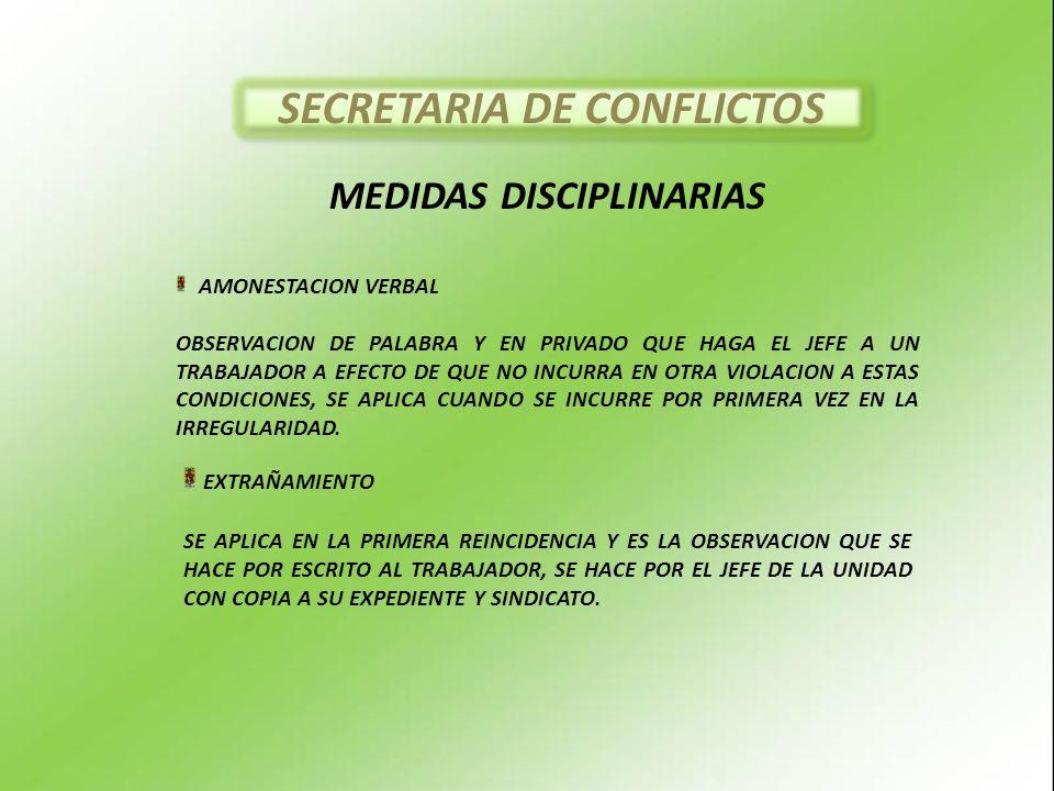 MEDIDAS DISCIPLINARIAS AMONESTACION VERBAL OBSERVACION DE PALABRA Y EN PRIVADO QUE HAGA EL JEFE A UN TRABAJADOR A EFECTO DE QUE NO INCURRA EN OTRA VIOLACION A ESTAS CONDICIONES, SE APLICA CUANDO SE INCURRE POR PRIMERA VEZ EN LA IRREGULARIDAD.