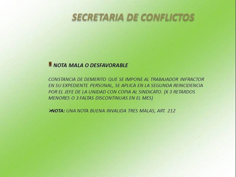 SECRETARIA DE CONFLICTOS NOTA MALA O DESFAVORABLE CONSTANCIA DE DEMERITO QUE SE IMPONE AL TRABAJADOR INFRACTOR EN SU EXPEDIENTE PERSONAL, SE APLICA EN LA SEGUNDA REINCIDENCIA POR EL JEFE DE LA UNIDAD CON COPIA AL SINDICATO.