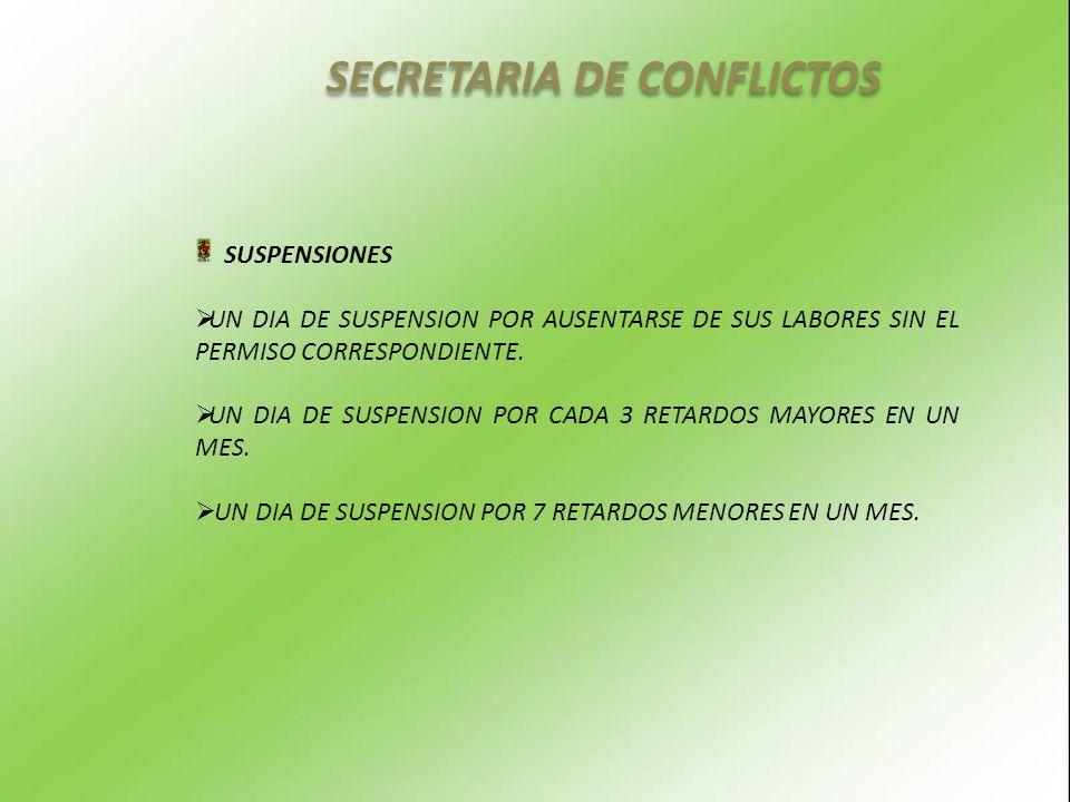 SECRETARIA DE CONFLICTOS SUSPENSIONES UN DIA DE SUSPENSION POR AUSENTARSE DE SUS LABORES SIN EL PERMISO CORRESPONDIENTE.
