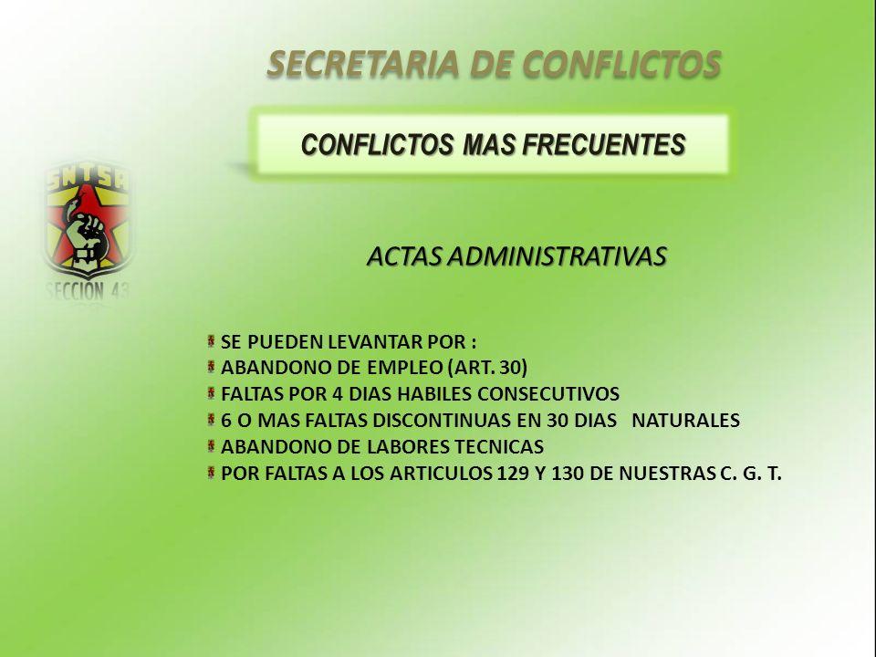CONFLICTOS MAS FRECUENTES ACTAS ADMINISTRATIVAS SE PUEDEN LEVANTAR POR : ABANDONO DE EMPLEO (ART.