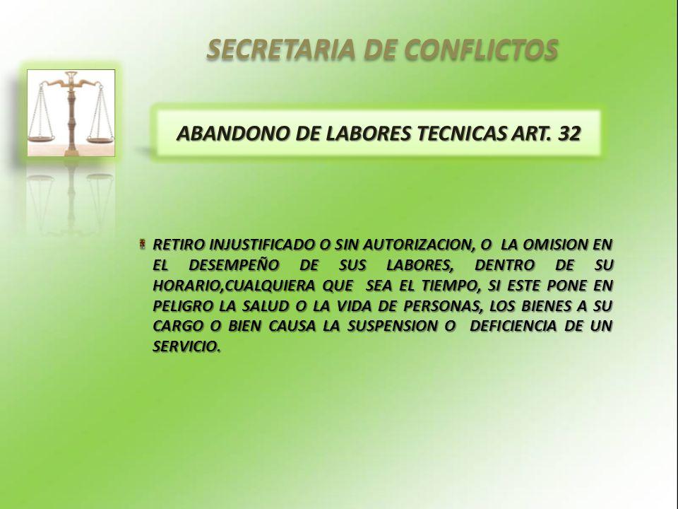 SECRETARIA DE CONFLICTOS ABANDONO DE LABORES TECNICAS ART.