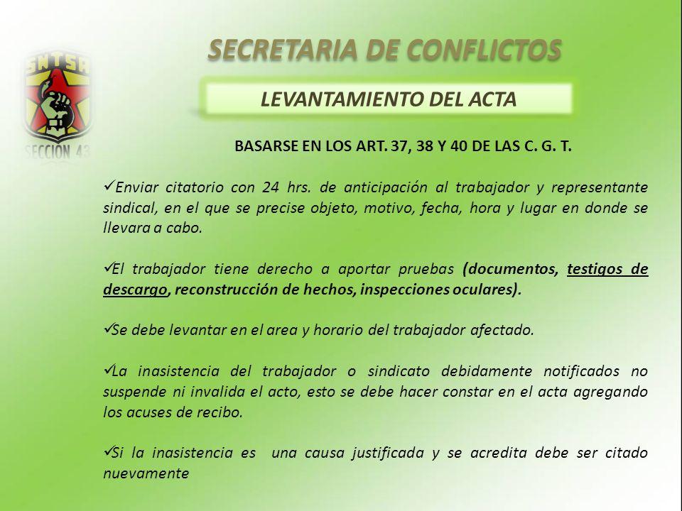 SECRETARIA DE CONFLICTOS LEVANTAMIENTO DEL ACTA BASARSE EN LOS ART.
