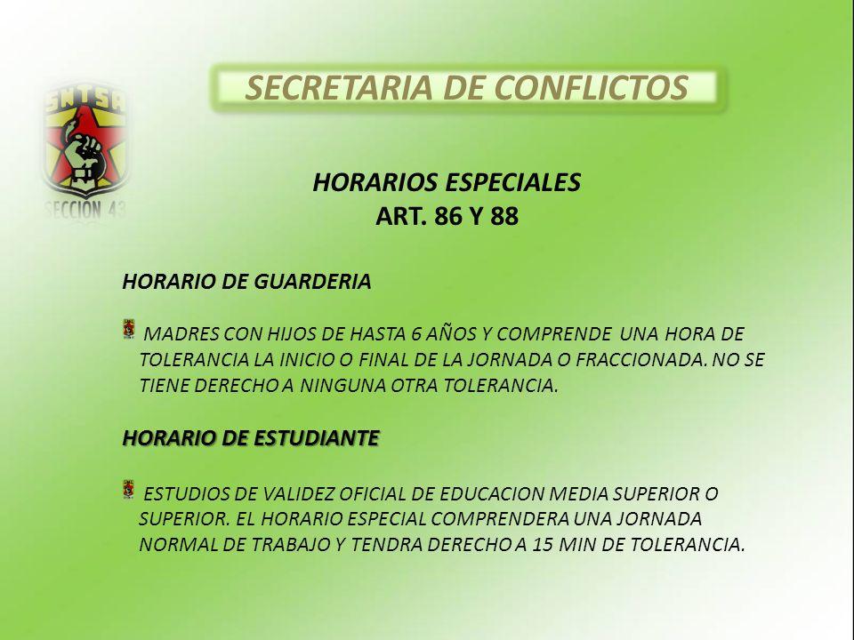 HORARIOS ESPECIALES ART.