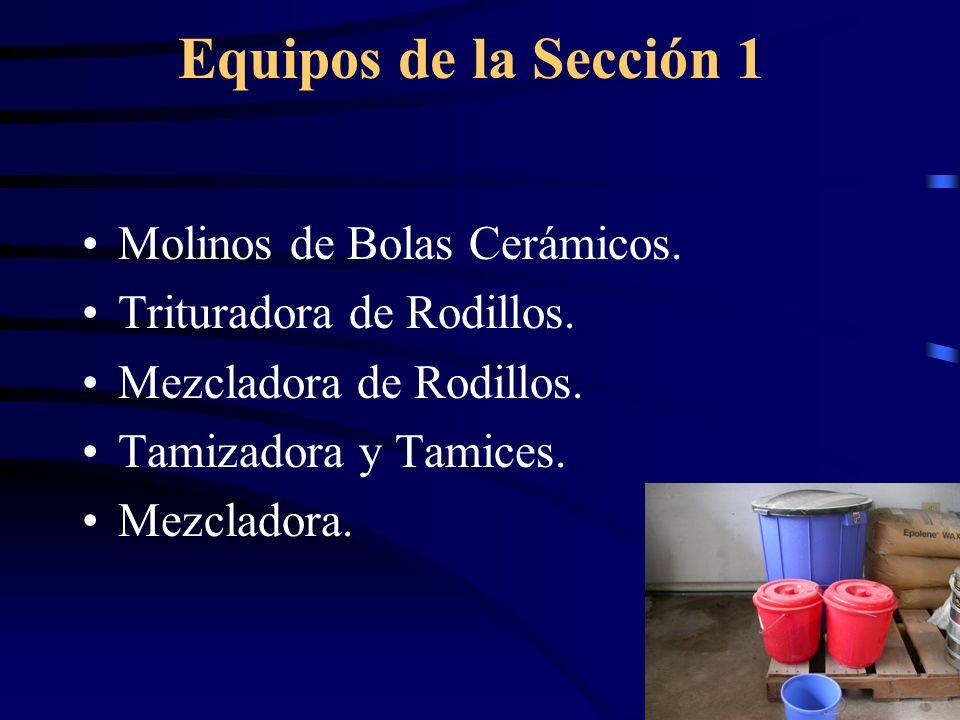 Equipos de la Sección 1 Molinos de Bolas Cerámicos. Trituradora de Rodillos. Mezcladora de Rodillos. Tamizadora y Tamices. Mezcladora.