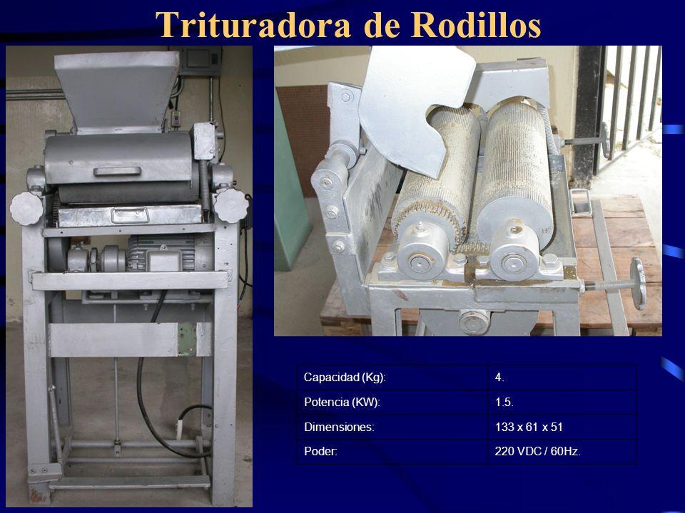 Trituradora de Rodillos Capacidad (Kg):4. Potencia (KW):1.5. Dimensiones:133 x 61 x 51 Poder:220 VDC / 60Hz.