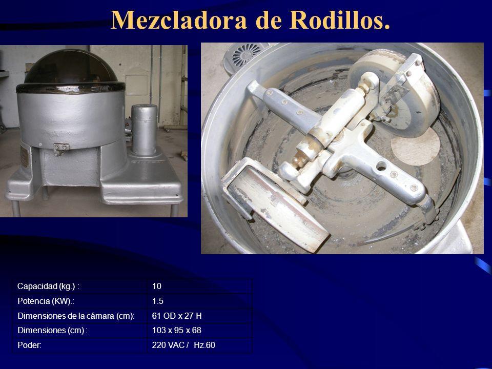 Mezcladora de Rodillos. Capacidad (kg.) :10 Potencia (KW).:1.5 Dimensiones de la cámara (cm):61 OD x 27 H Dimensiones (cm) :103 x 95 x 68 Poder:220 VA