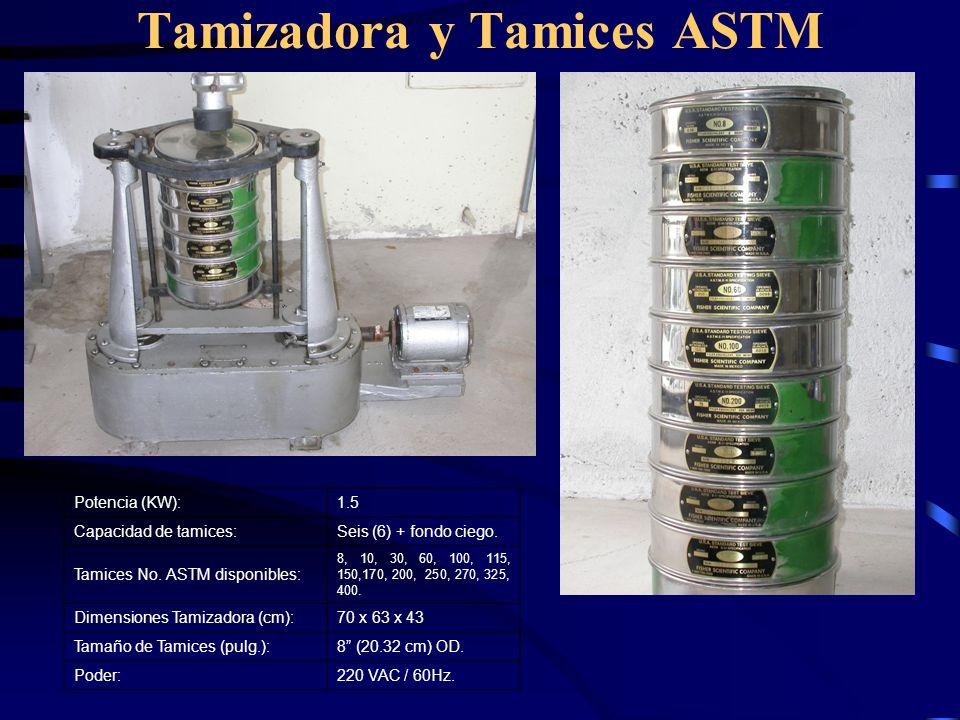 Tamizadora y Tamices ASTM Potencia (KW):1.5 Capacidad de tamices:Seis (6) + fondo ciego. Tamices No. ASTM disponibles: 8, 10, 30, 60, 100, 115, 150,17