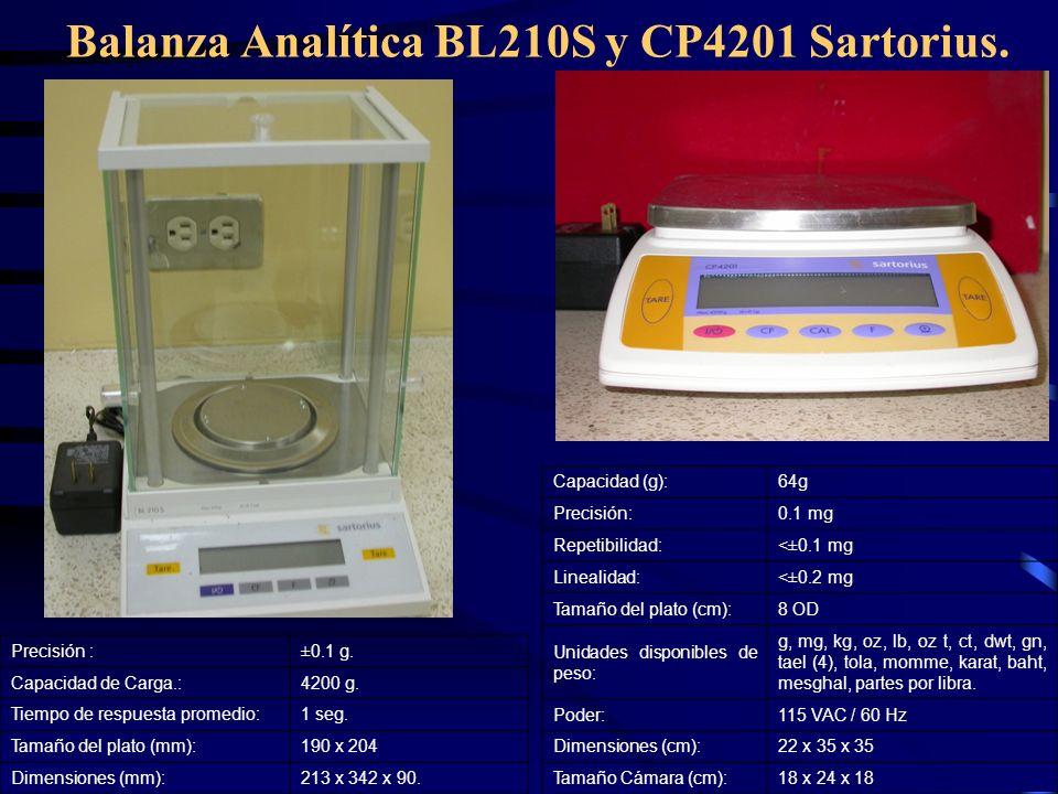Balanza Analítica BL210S y CP4201 Sartorius. Capacidad (g):64g Precisión:0.1 mg Repetibilidad:<±0.1 mg Linealidad:<±0.2 mg Tamaño del plato (cm):8 OD