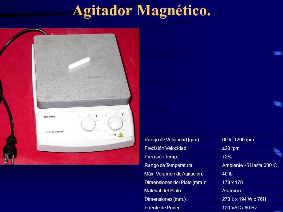 Agitador Magnético. Rango de Velocidad (rpm):60 to 1200 rpm Precisión Velocidad:±20 rpm Precisión Temp.:±2% Rango de Temperatura:Ambiente +5 Hasta 380