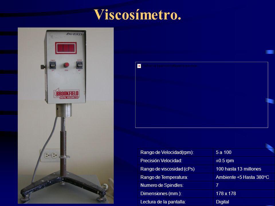 Viscosímetro. Rango de Velocidad(rpm):5 a 100 Precisión Velocidad:±0.5 rpm Rango de viscosidad (cPs)100 hasta 13 millones Rango de Temperatura:Ambient