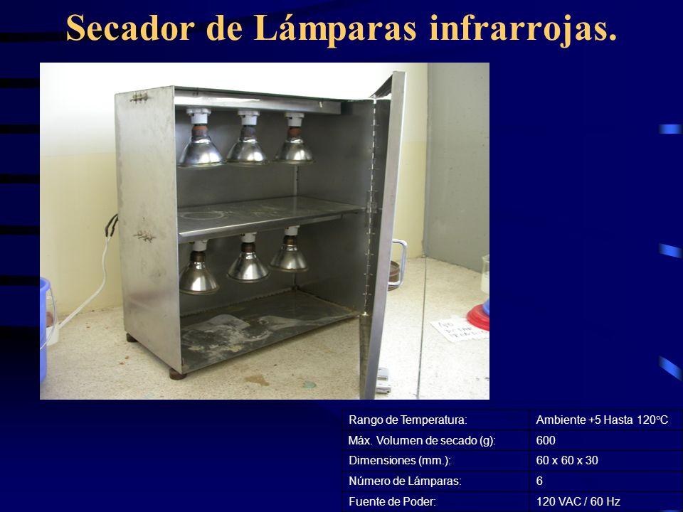 Secador de Lámparas infrarrojas. Rango de Temperatura:Ambiente +5 Hasta 120°C Máx. Volumen de secado (g):600 Dimensiones (mm.):60 x 60 x 30 Número de