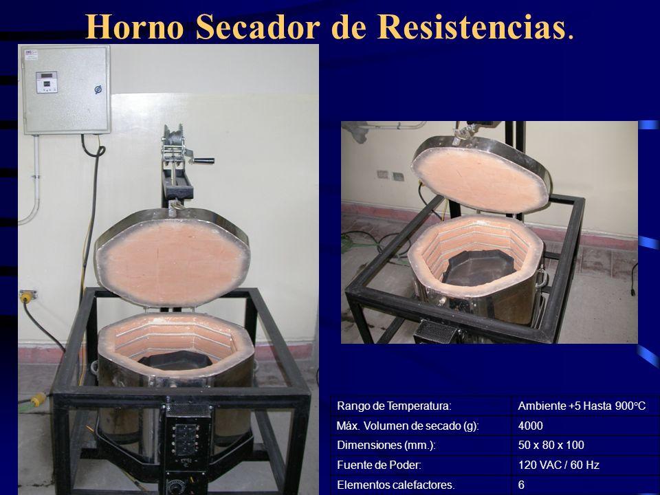 Horno Secador de Resistencias. Rango de Temperatura:Ambiente +5 Hasta 900°C Máx. Volumen de secado (g):4000 Dimensiones (mm.):50 x 80 x 100 Fuente de