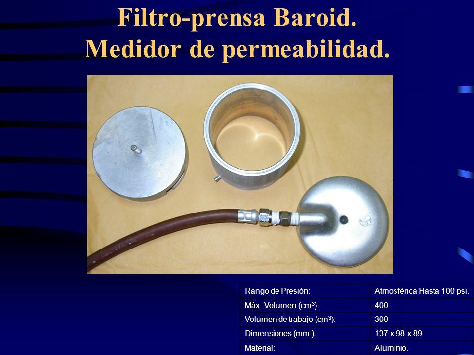 Filtro-prensa Baroid. Medidor de permeabilidad. Rango de Presión:Atmosférica Hasta 100 psi. Máx. Volumen (cm 3 ):400 Volumen de trabajo (cm 3 ):300 Di