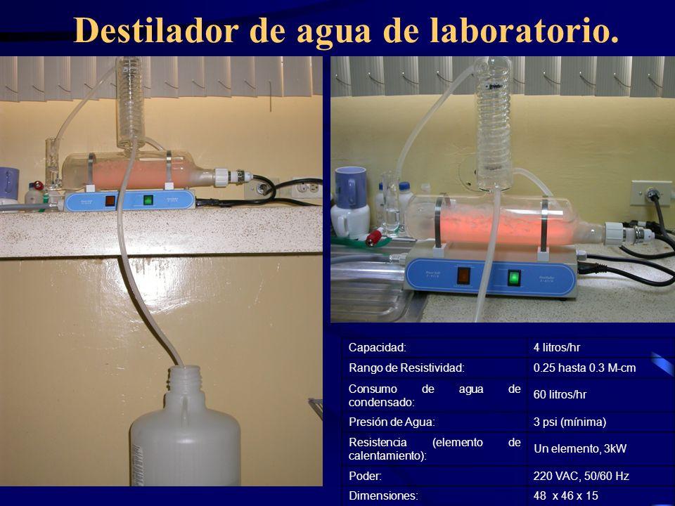 Destilador de agua de laboratorio. Capacidad:4 litros/hr Rango de Resistividad:0.25 hasta 0.3 M-cm Consumo de agua de condensado: 60 litros/hr Presión
