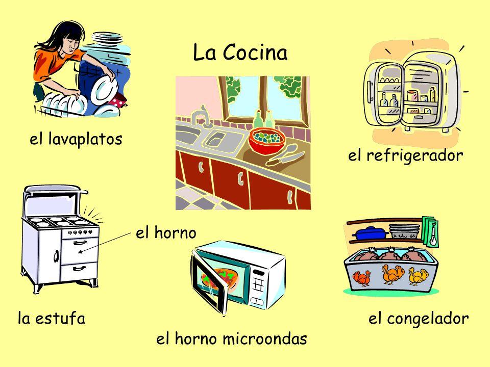 La Cocina el horno microondas el lavaplatos la estufa el horno el refrigerador el congelador