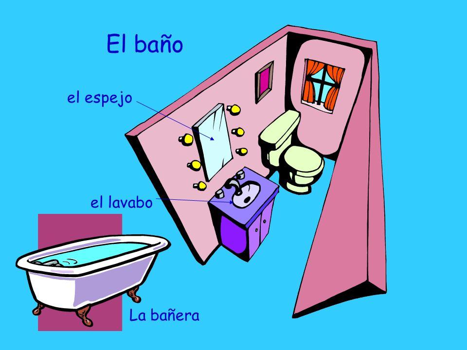El baño el lavabo el espejo La bañera