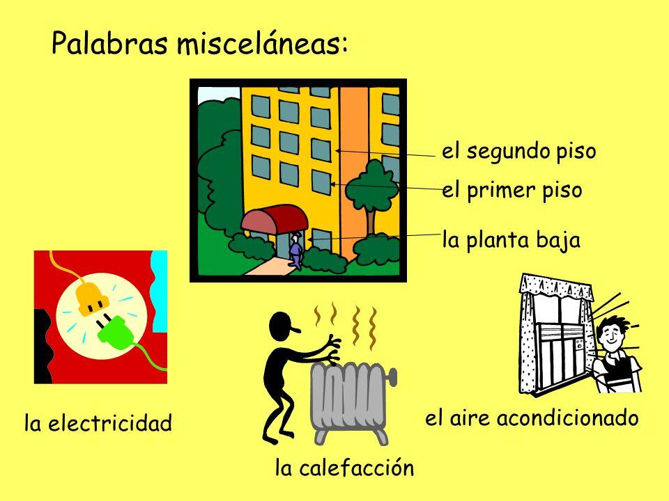 Palabras misceláneas: la planta baja el primer piso el segundo piso la electricidad la calefacción el aire acondicionado