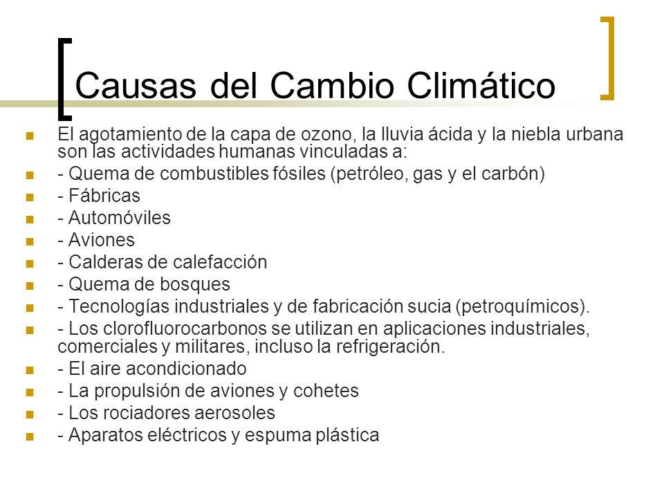 Causas del Cambio Climático El agotamiento de la capa de ozono, la lluvia ácida y la niebla urbana son las actividades humanas vinculadas a: - Quema de combustibles fósiles (petróleo, gas y el carbón) - Fábricas - Automóviles - Aviones - Calderas de calefacción - Quema de bosques - Tecnologías industriales y de fabricación sucia (petroquímicos).