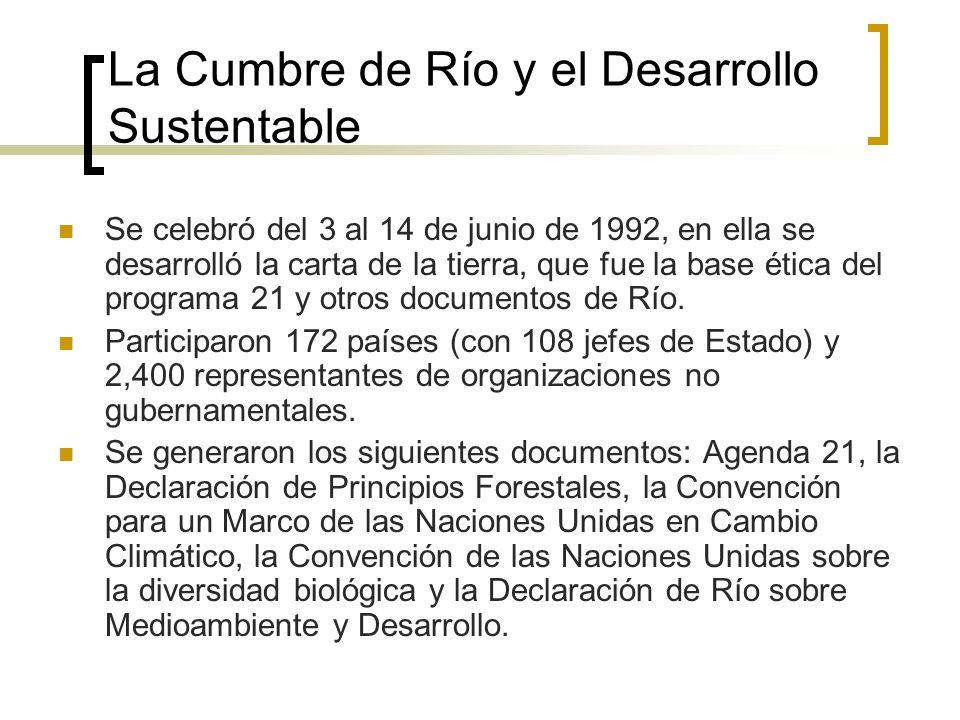 La Cumbre de Río y el Desarrollo Sustentable Se celebró del 3 al 14 de junio de 1992, en ella se desarrolló la carta de la tierra, que fue la base ética del programa 21 y otros documentos de Río.