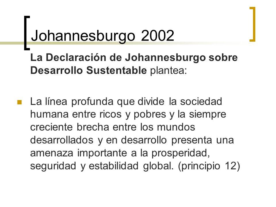 Johannesburgo 2002 La Declaración de Johannesburgo sobre Desarrollo Sustentable plantea: La línea profunda que divide la sociedad humana entre ricos y pobres y la siempre creciente brecha entre los mundos desarrollados y en desarrollo presenta una amenaza importante a la prosperidad, seguridad y estabilidad global.