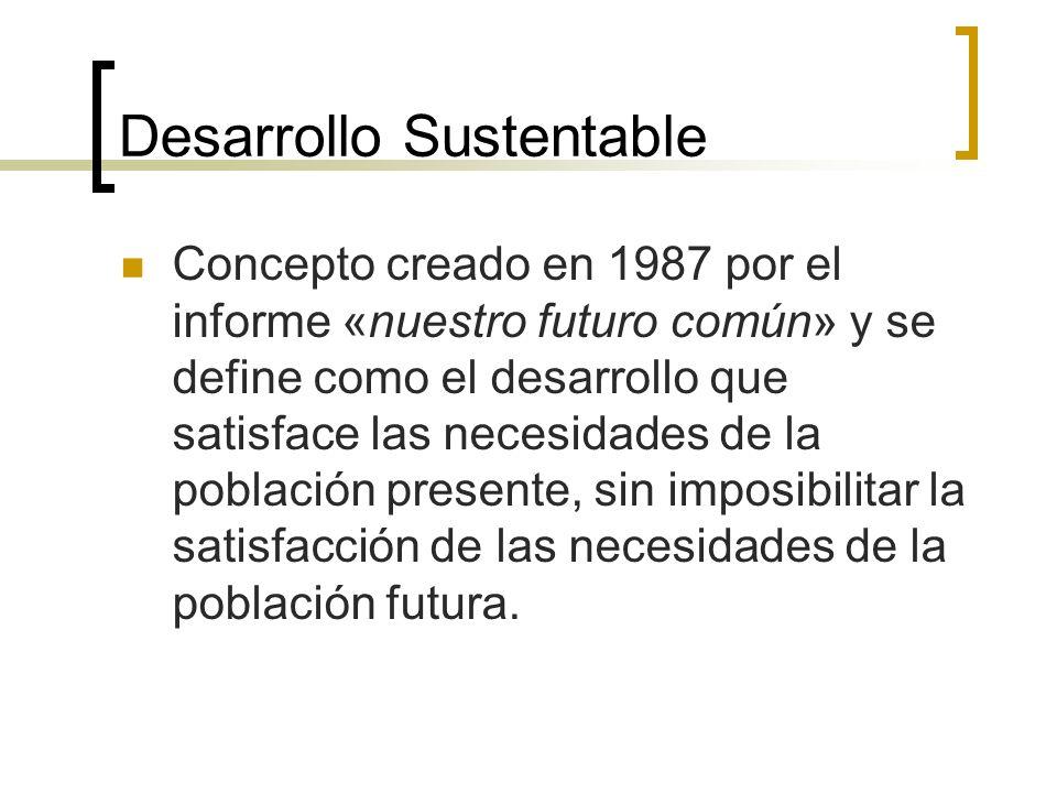 Desarrollo Sustentable Concepto creado en 1987 por el informe «nuestro futuro común» y se define como el desarrollo que satisface las necesidades de la población presente, sin imposibilitar la satisfacción de las necesidades de la población futura.