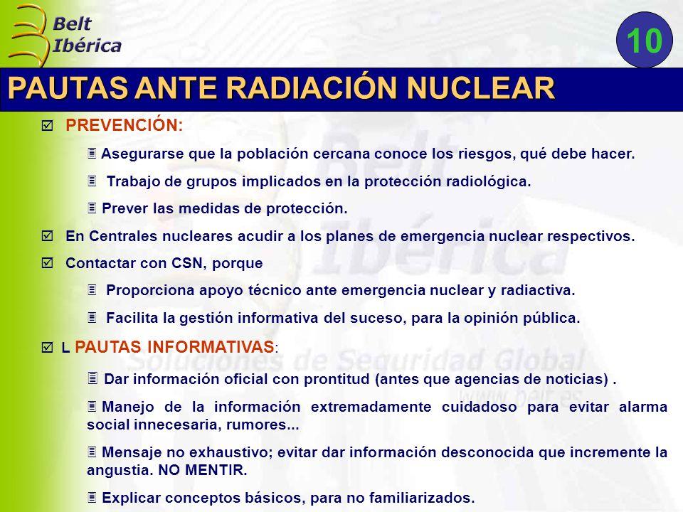 PREVENCIÓN: 3 Asegurarse que la población cercana conoce los riesgos, qué debe hacer. 3 Trabajo de grupos implicados en la protección radiológica. 3 P