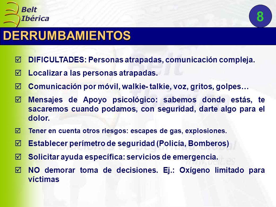 DIFICULTADES: Personas atrapadas, comunicación compleja. Localizar a las personas atrapadas. Comunicación por móvil, walkie- talkie, voz, gritos, golp