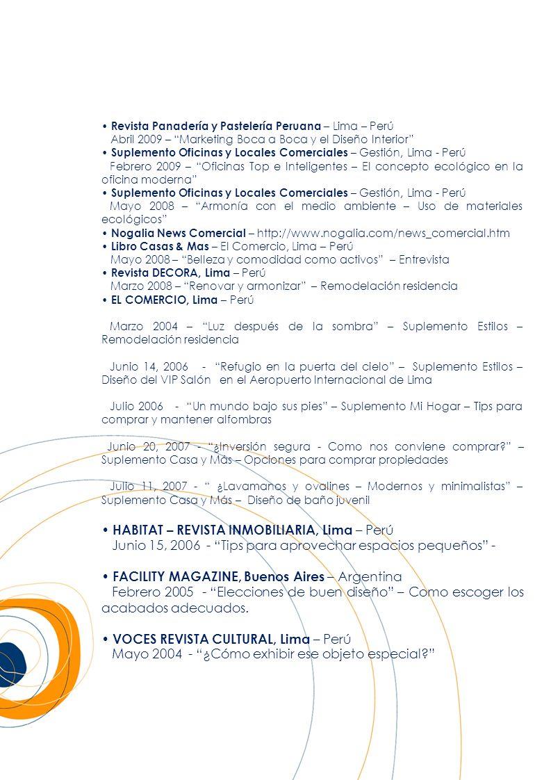 Revista Panadería y Pastelería Peruana – Lima – Perú Abril 2009 – Marketing Boca a Boca y el Diseño Interior Suplemento Oficinas y Locales Comerciales