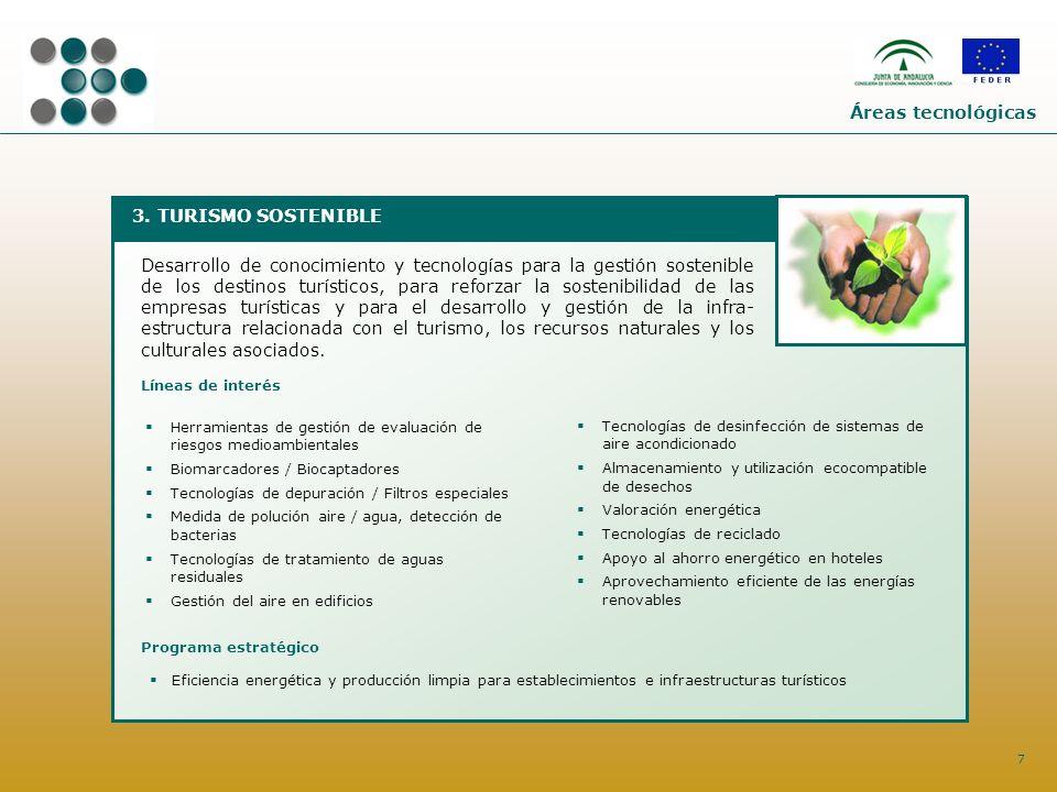7 3. TURISMO SOSTENIBLE Desarrollo de conocimiento y tecnologías para la gestión sostenible de los destinos turísticos, para reforzar la sostenibilida