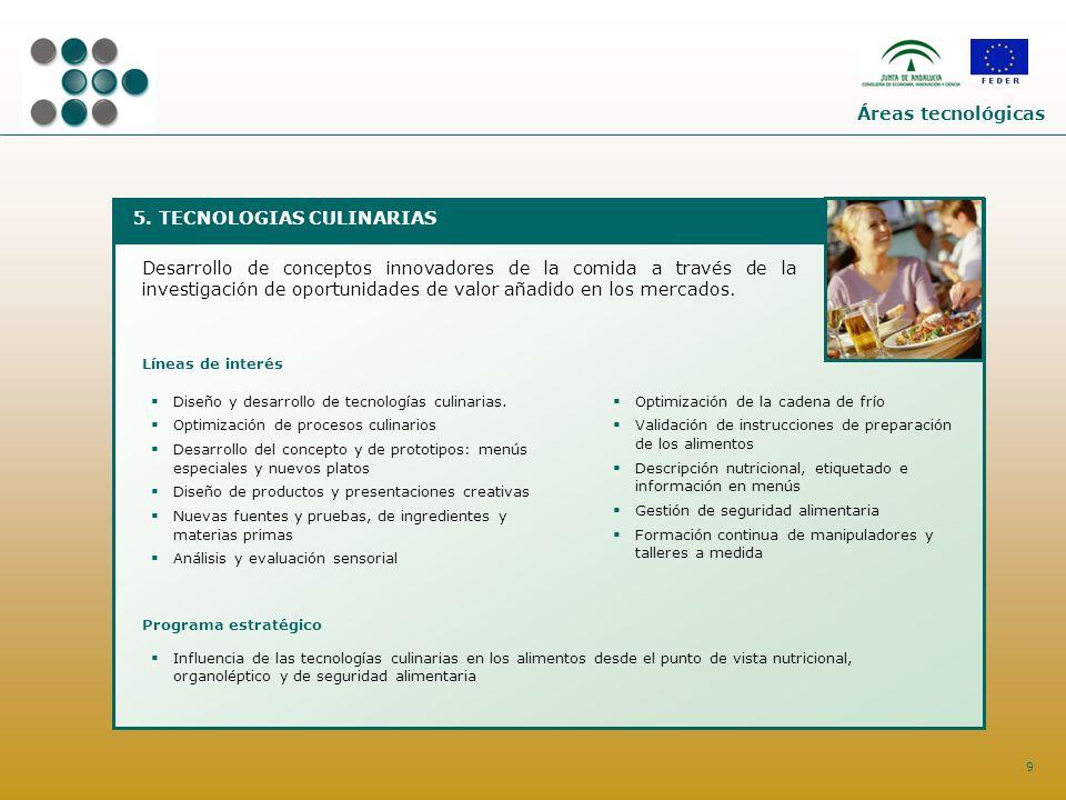 9 5. TECNOLOGIAS CULINARIAS Desarrollo de conceptos innovadores de la comida a través de la investigación de oportunidades de valor añadido en los mer