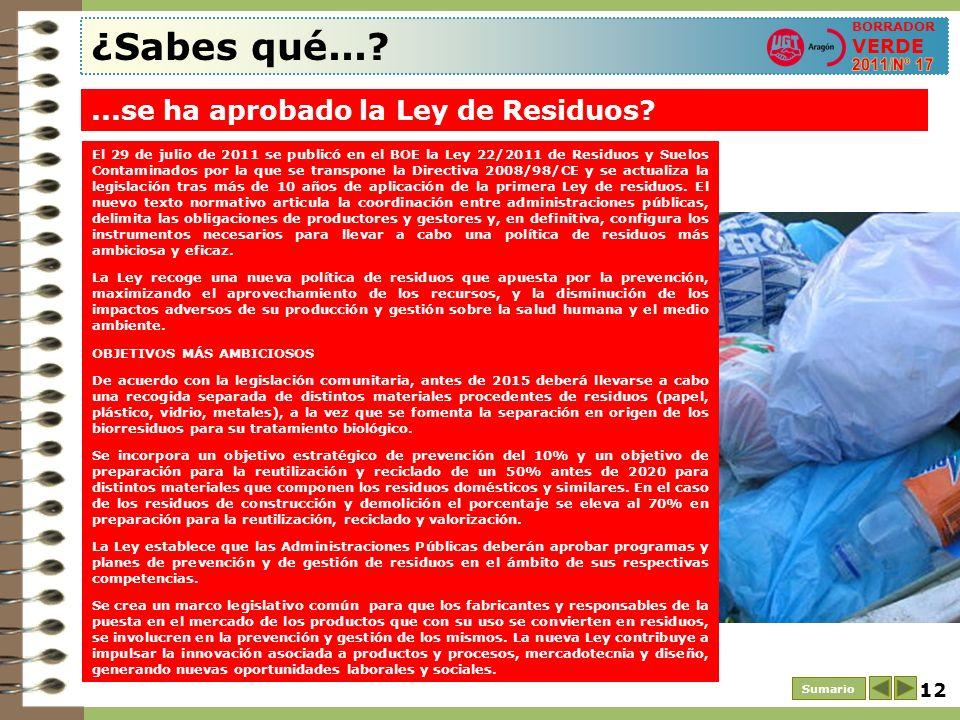 12 ¿Sabes qué...? Sumario BORRADOR VERDE...se ha aprobado la Ley de Residuos? El 29 de julio de 2011 se publicó en el BOE la Ley 22/2011 de Residuos y