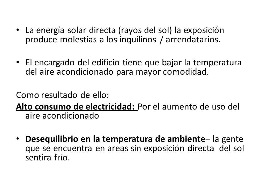 La energía solar directa (rayos del sol) la exposición produce molestias a los inquilinos / arrendatarios.