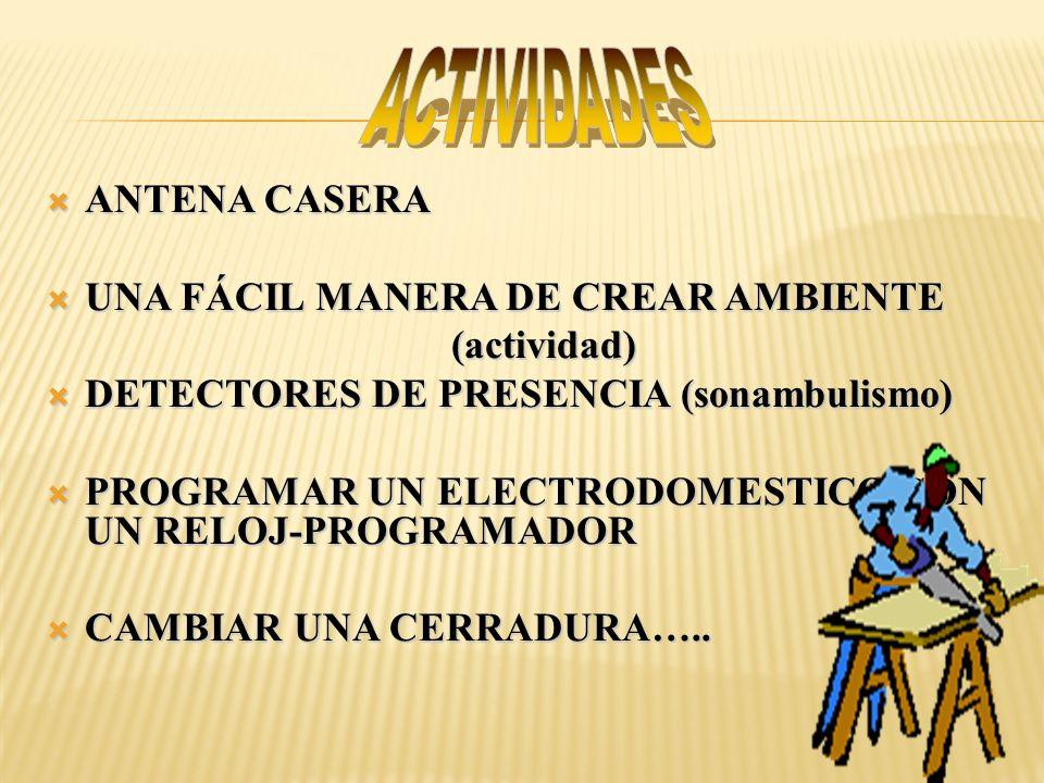 ANTENA CASERA ANTENA CASERA UNA FÁCIL MANERA DE CREAR AMBIENTE UNA FÁCIL MANERA DE CREAR AMBIENTE (actividad) (actividad) DETECTORES DE PRESENCIA (son