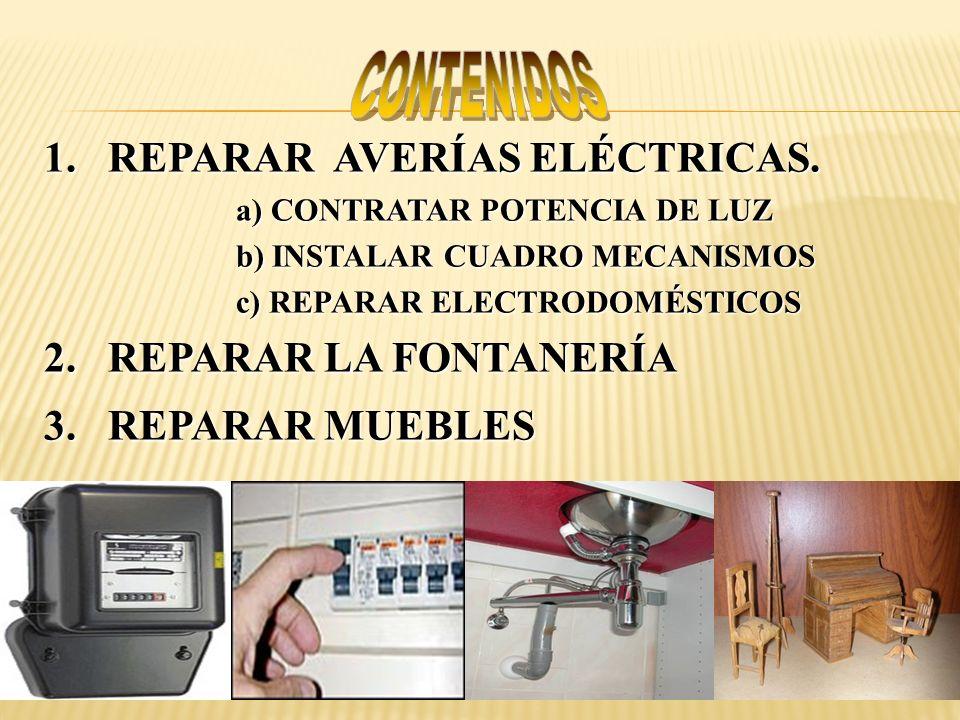 1.REPARAR AVERÍAS ELÉCTRICAS. a) CONTRATAR POTENCIA DE LUZ b) INSTALAR CUADRO MECANISMOS c) REPARAR ELECTRODOMÉSTICOS 2.REPARAR LA FONTANERÍA 3.REPARA