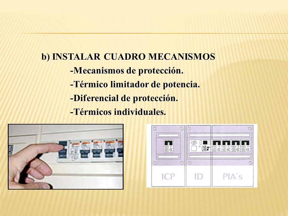 b) INSTALAR CUADRO MECANISMOS -Mecanismos de protección. -Térmico limitador de potencia. -Diferencial de protección. -Térmicos individuales.