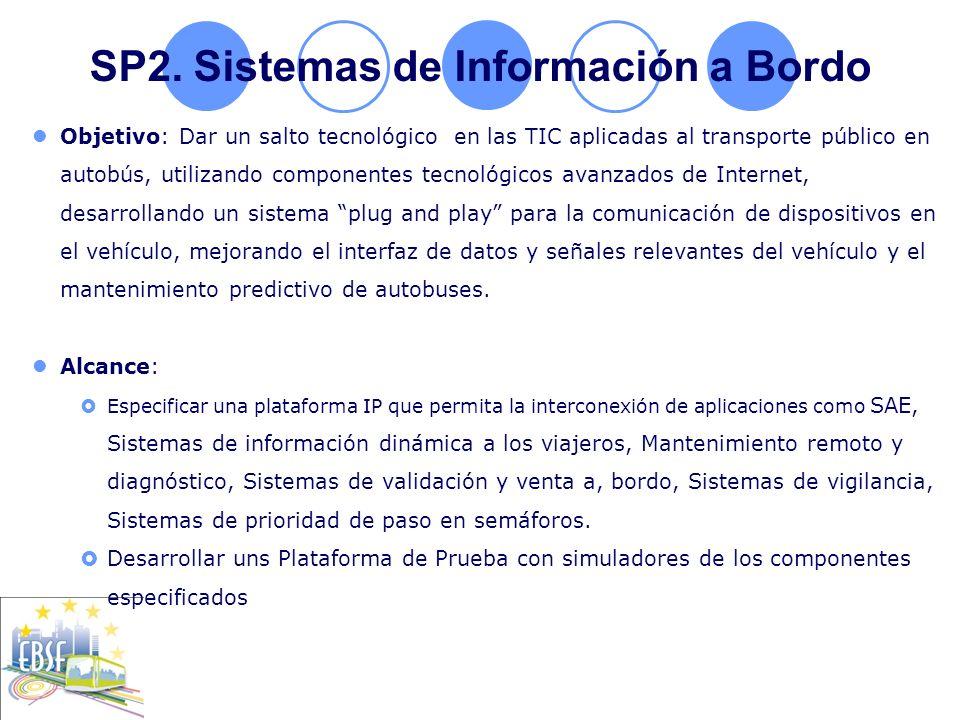SP2. Sistemas de Información a Bordo Objetivo: Dar un salto tecnológico en las TIC aplicadas al transporte público en autobús, utilizando componentes