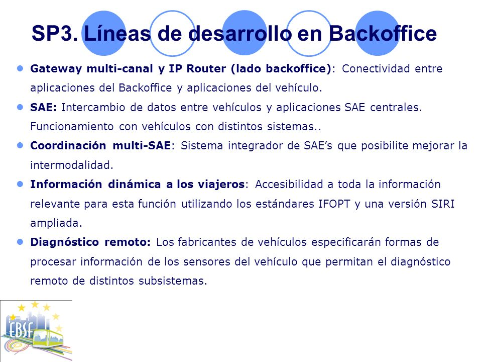 SP3. Líneas de desarrollo en Backoffice Gateway multi-canal y IP Router (lado backoffice): Conectividad entre aplicaciones del Backoffice y aplicacion
