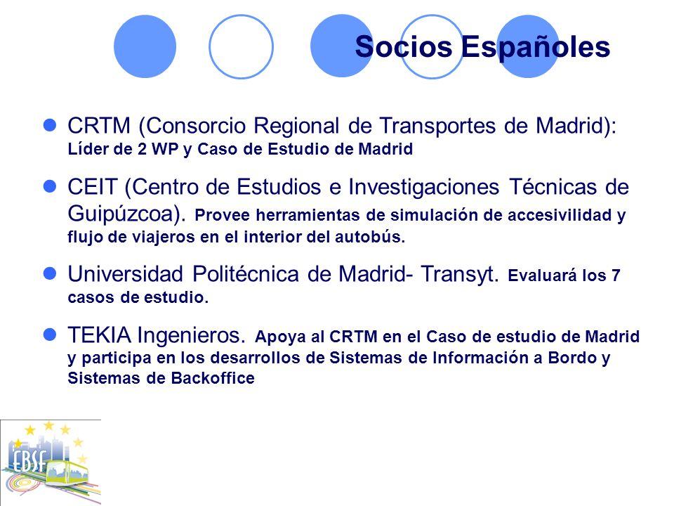 CRTM (Consorcio Regional de Transportes de Madrid): Líder de 2 WP y Caso de Estudio de Madrid CEIT (Centro de Estudios e Investigaciones Técnicas de G