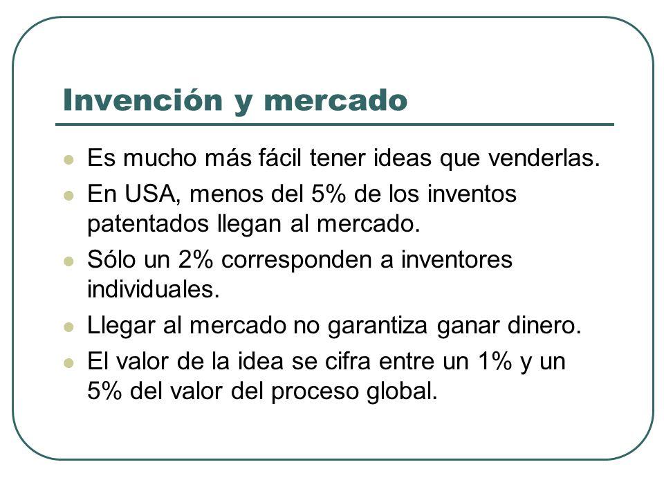 Invención y mercado Es mucho más fácil tener ideas que venderlas. En USA, menos del 5% de los inventos patentados llegan al mercado. Sólo un 2% corres