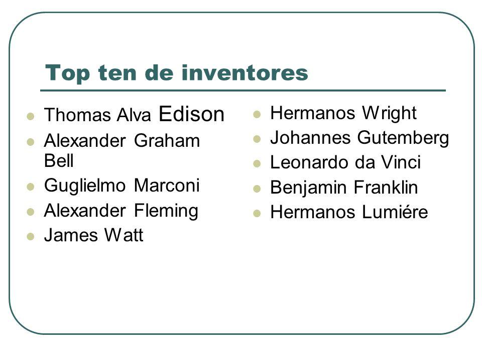 Top ten de inventores Thomas Alva Edison Alexander Graham Bell Guglielmo Marconi Alexander Fleming James Watt Hermanos Wright Johannes Gutemberg Leona