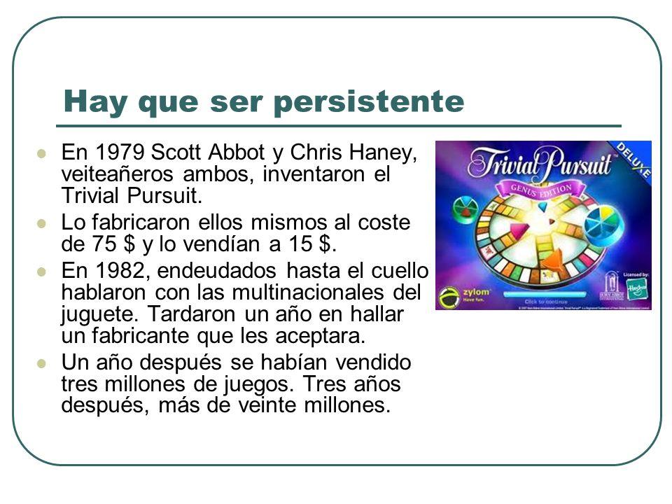 En 1979 Scott Abbot y Chris Haney, veiteañeros ambos, inventaron el Trivial Pursuit. Lo fabricaron ellos mismos al coste de 75 $ y lo vendían a 15 $.