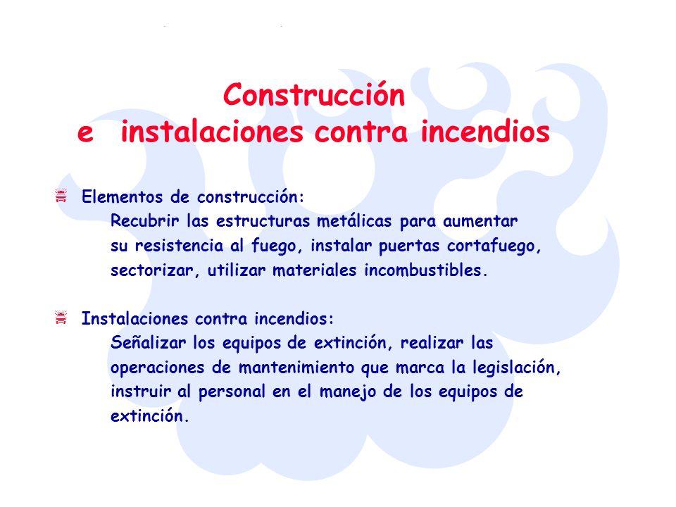 Elementos de construcción: Recubrir las estructuras metálicas para aumentar su resistencia al fuego, instalar puertas cortafuego, sectorizar, utilizar