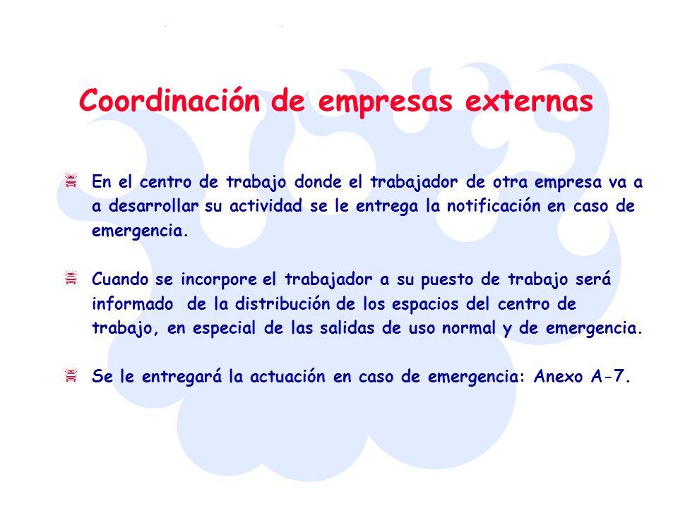 Coordinación de empresas externas En el centro de trabajo donde el trabajador de otra empresa va a a desarrollar su actividad se le entrega la notific