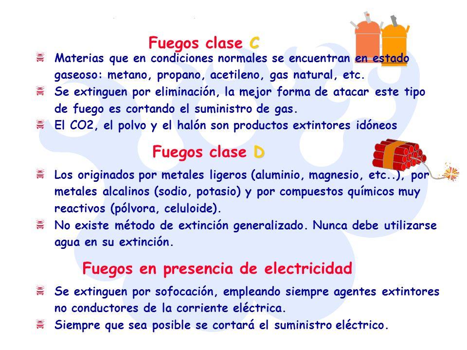 C Fuegos clase C Materias que en condiciones normales se encuentran en estado gaseoso: metano, propano, acetileno, gas natural, etc. Se extinguen por