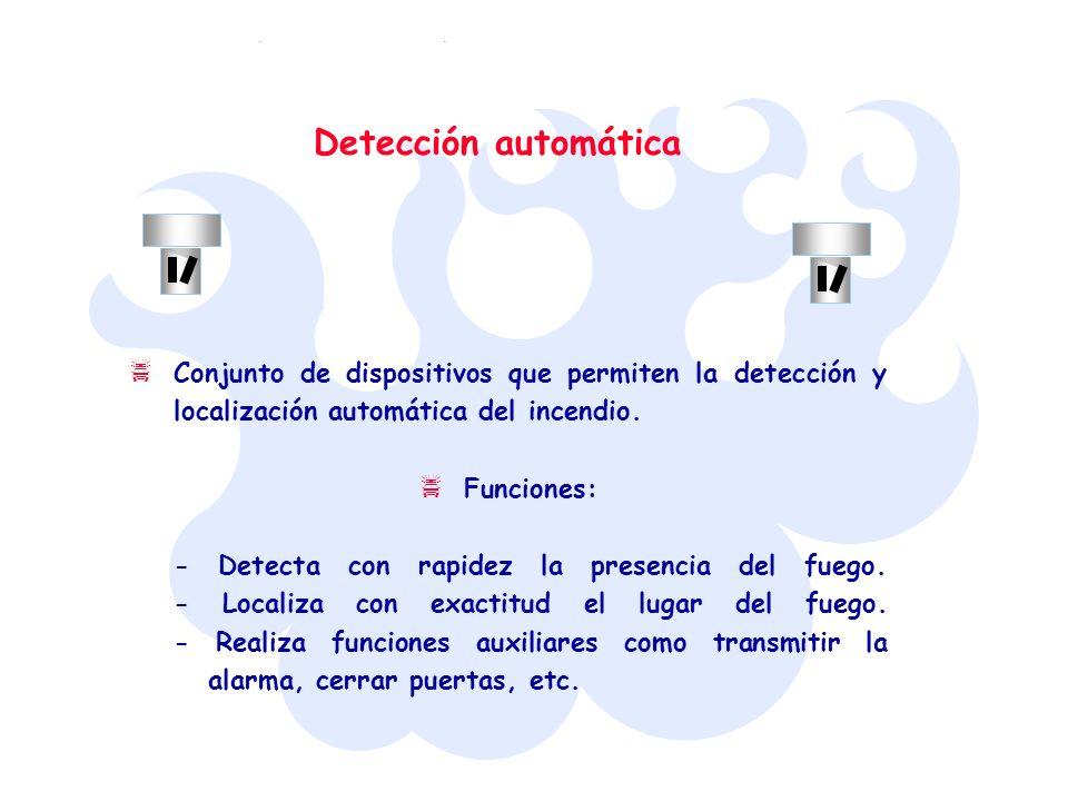 Detección automática Conjunto de dispositivos que permiten la detección y localización automática del incendio. Funciones: - Detecta con rapidez la pr