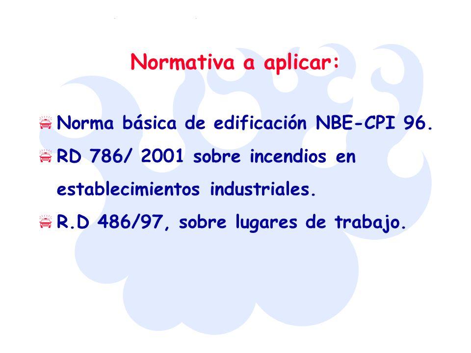 Normativa a aplicar: Norma básica de edificación NBE-CPI 96. RD 786/ 2001 sobre incendios en establecimientos industriales. R.D 486/97, sobre lugares
