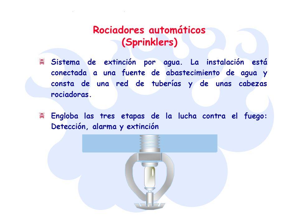 Rociadores automáticos (Sprinklers) Sistema de extinción por agua. La instalación está conectada a una fuente de abastecimiento de agua y consta de un