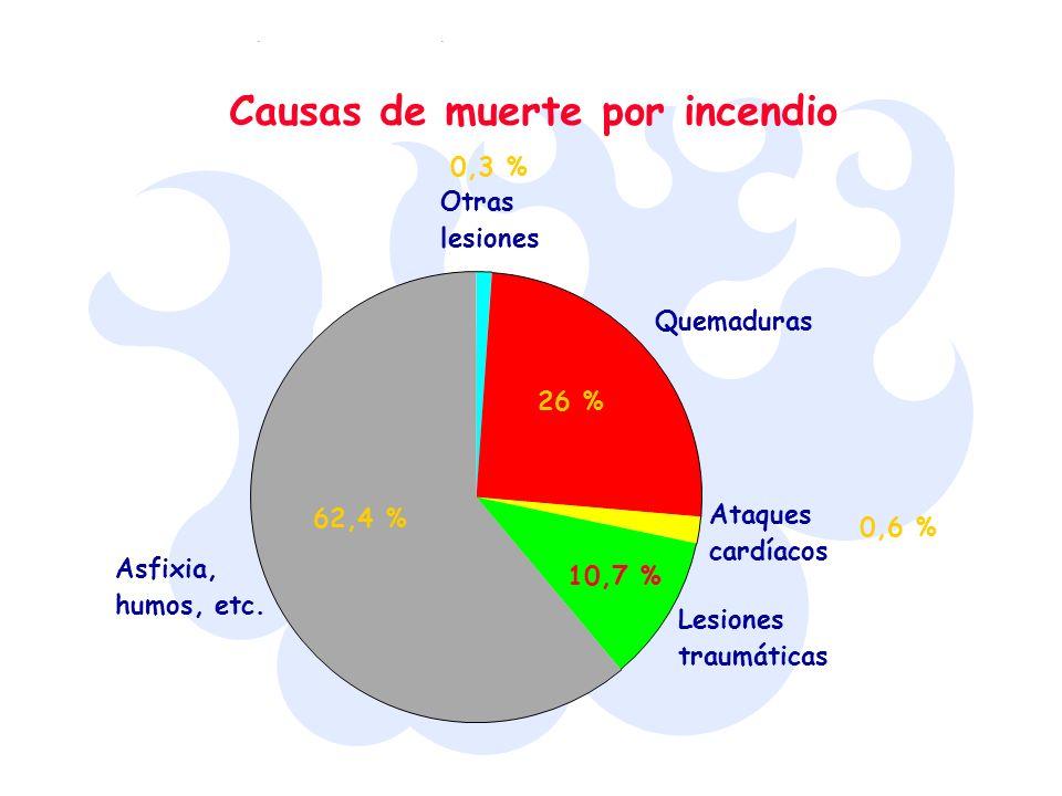 Causas de muerte por incendio Otras lesiones Quemaduras Ataques cardíacos Lesiones traumáticas Asfixia, humos, etc. 62,4 % 0,3 % 26 % 0,6 % 10,7 %
