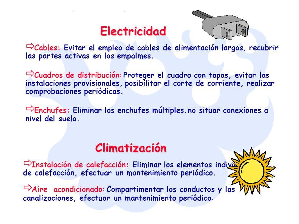 Electricidad Cables: Evitar el empleo de cables de alimentación largos, recubrir las partes activas en los empalmes. Cuadros de distribución: Proteger